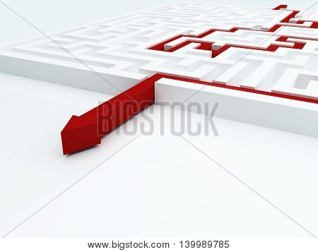 Red arrow in a maze. 3d illustration.