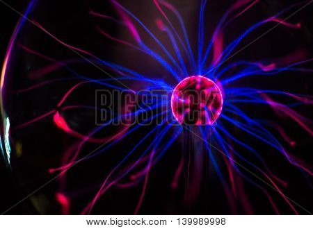 Plasma ball in action over dark background. poster