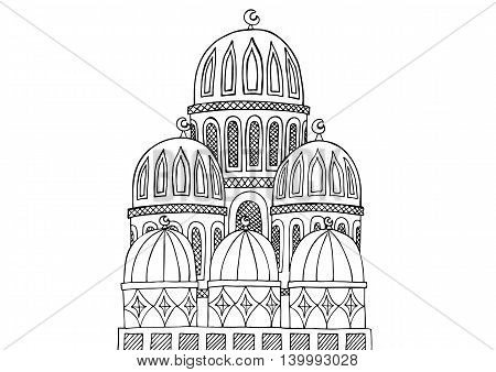 Abstract Mosque illustration. Sketchy hand drawn Doodle. Black and white abstract picture.