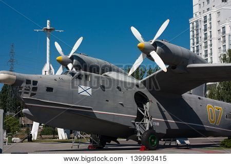KALININGRAD RUSSIA - June 19: Museum of World oceanoutdoor exposition The aircraft-ship BE-12 on June 19 2016 in Kaliningrad Russia