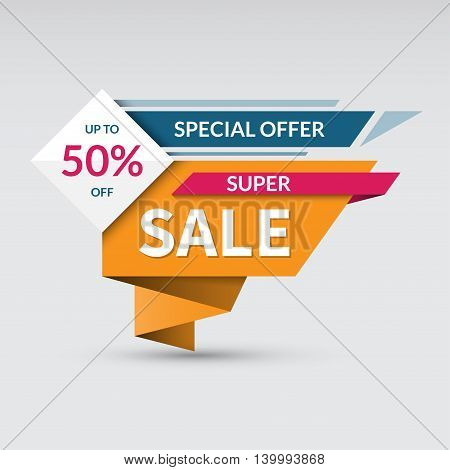 Super sale banner. Special offer label. Up to 50 percent off concept. Half price colorful sticker. Shopping badge. Origami style. Vector background