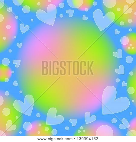 Beautiful romantic blue, green and pink background with hearts