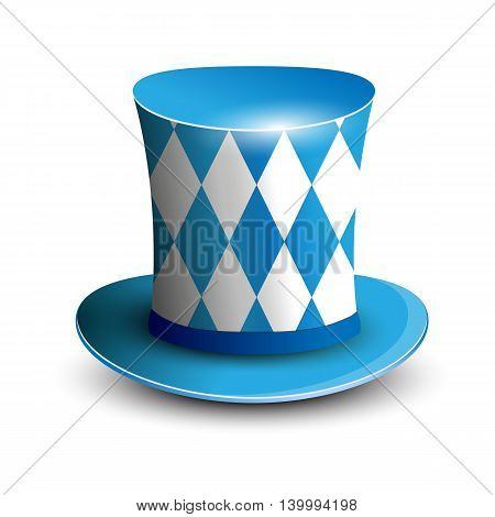 Bavaria Hat. Oktoberfest background. Bavarian flag color. Vector illustration