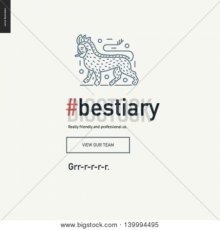 Bestiary block website template - contemporary flat vector icon of bestiary and a corresponding text and button layout on light background, for design studio website