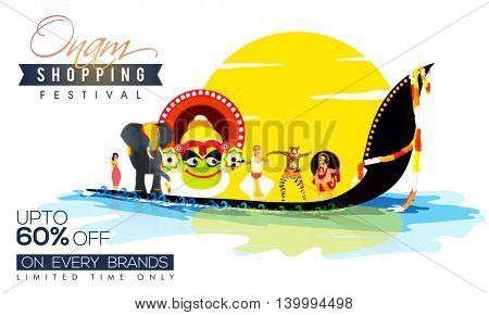 Onam Sale with Upto 60% Off on every brand for limited time, Creative illustration showing culture and tradition of Kerala.