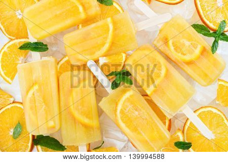 Fruit Homemade Popsicle With Slices Of Orange