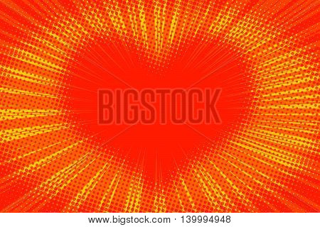 Yellow orange background heart pop art retro vector illustration