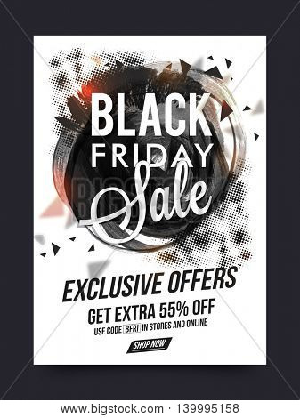 Black Friday Sale with Exclusive Offers, Sale Poster, Sale Banner, Sale Flyer, Get Extra 55% Off, Sale and Discount Background with abstract design, Online Sale, Creative vector illustration.