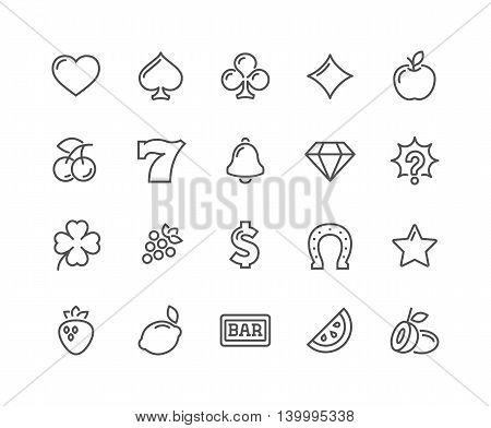 Simple Set of Slot Machine Vector Line Icons. Contains such Icons as Four-Leaf, Diamond, Fruits and more. Editable Stroke. 48x48 Pixel Perfect.