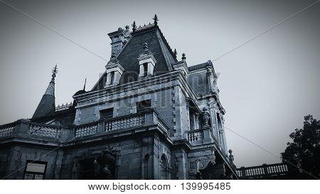 Crimea. Yalta. Massandra palace. Dark Gothic Castle