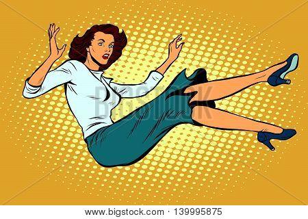 The woman falls down pop art retro vector illustration. Free fall, suicide