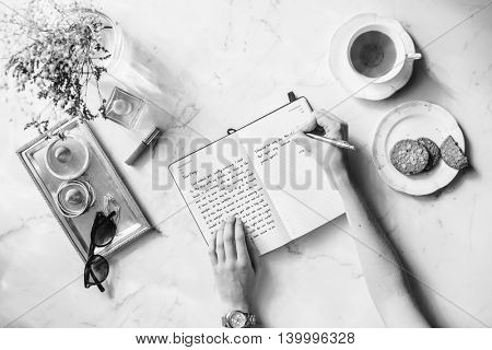 Writing Diary Tea Snacks Concept