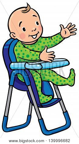 Children vector illustration of funny smiling baby boy or girl in rompers in the highchair.
