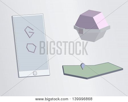 ball two colors white pink phone map with a pointer to a vector drawing cubism