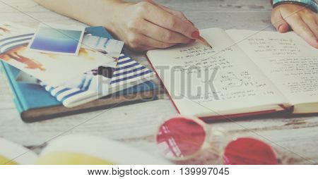 Writing Travel Plan Diary Journey Concept