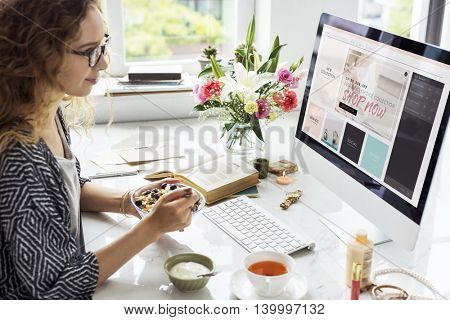 Woman Shopping Online Website Food Concept