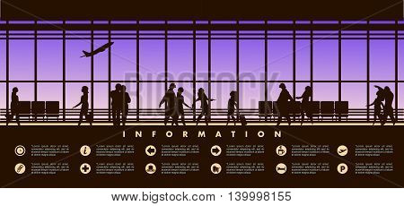 vector illustration of the airport building waiting room large picture window people silhouettes mourners horizontal poster an information board with icons and text