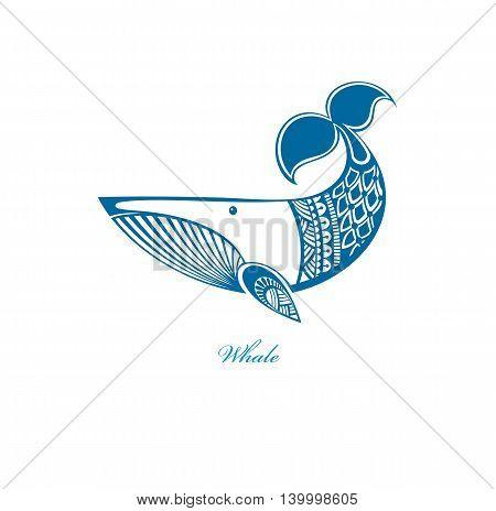 Blue whale. Fun whale icon. Cartoon blue whale vector illustration