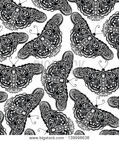 Butterflies pattern.Beautiful seamless background of butterflies black and white colors