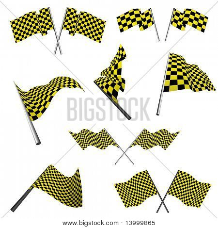 Yellow and black checked racing flags set. Vector illustration. poster
