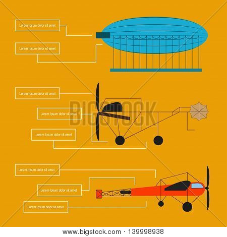 Poster of old aircraft: airship, first model airplanes and cars aviation