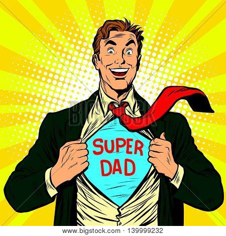 Super dad hero with a joyful smile pop art retro vector illustration