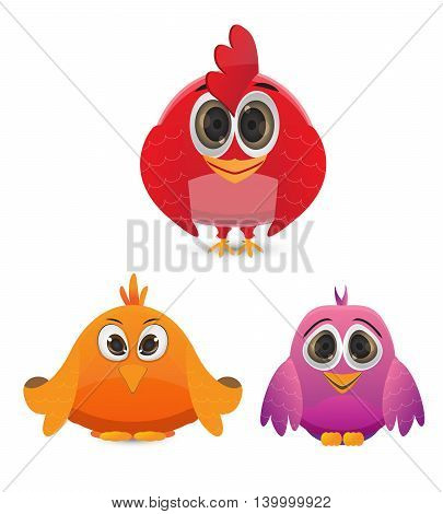 cute funny bird in red, purple and orange color