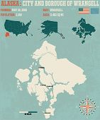 Large and detailed infographic of the City and Borough of Wrangell in Alaska poster