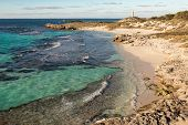 Rottnest Island coastal landscape with The Basin in the foreground, Pinky Beach and Bathurst Lighthouse. The island is situated near Perth and Fremantle in Western Australia. HDR image. poster