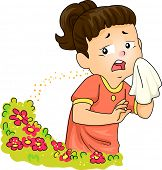 Illustration of a Little Girl Sneezing After Being Exposed to Pollen poster