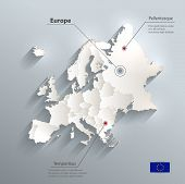 Europe political map flag 3D vector individual states separate poster