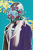 Color art hight fashion portrait vogue blond sexy model fine collage with no faces poster