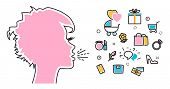 Flat line illustration of woman shouts and talk about their favorite interests wanted dream idea desire wish. Website blog banner infographic elements logo icon and thought process poster