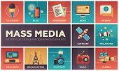 Set of modern vector flat design mass media icons and mass media pictograms. Tv, newspaper, blog, internet, radio satellite, megaphone, broadcasting, camera, snapshot poster