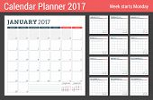 Calendar Planner Template for 2017 Year. Week Starts Monday. 3 Months on Page. Set of 12 Months. Place for Notes. Stationery Design. Vector Calendar Template poster