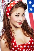 Smiling Pin-up girl. poster