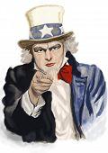 Uncle Sam. Digital painting . recruitment concept illustration. poster