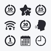 Every 10, 25, 30 minutes and 1 hour icons. Full rotation arrow symbols. Iterative process signs. Wifi internet, favorite stars, calendar and clock. Talking head. Vector poster