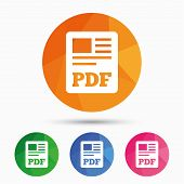 PDF file document icon. Download pdf button. PDF file symbol. Triangular low poly button with flat icon. Vector poster