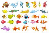 Set of funny colourful fish illustrations. Collection of sea fauna including dolphin, piranha, shark, fish hedgehog, gold fish. Vector illustration isolated on white background. poster