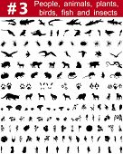 Set # 3. Big collection of collage vector silhouettes of people, animals, birds, fish, flowers and insects poster