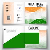 Set of annual report business templates for brochure, magazine, flyer or booklet. Background for Indian Independence Day celebration with Ashoka wheel and national flag colors, vector illustration. poster
