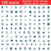 Biggest collection of 120  different icons for using in web design poster