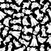 Halloween background. White ghosts seamless pattern wallpaper. Funny spooks with face expression. Smiling, laughing, scary, angry, indifferent, serious, shy, dancing, floating Cute scary artistic bogey vector cartoon characters poster