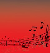 Abstract music background with different notes and lines poster