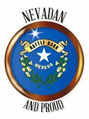 Neveda state flag button with a gold metal circular border over a white background with the text Nevadan and Proud poster