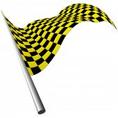 Yellow and black checked racing flag poster