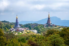 Landscape of two pagoda on Inthanon mountain Chiang Mai Thailand.