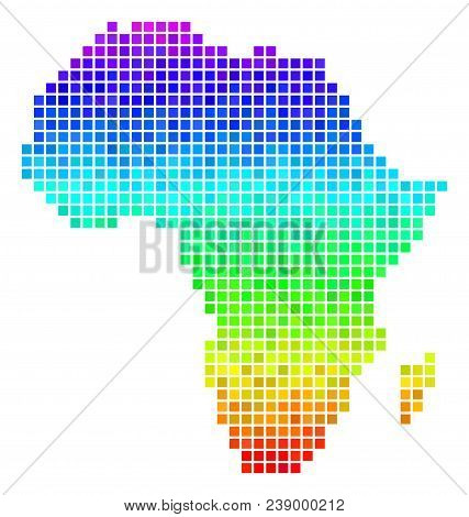 Dotted Africa Map. Vector Territory Scheme Drawn With Bright Spectral Color Tinges With Vertical Gra