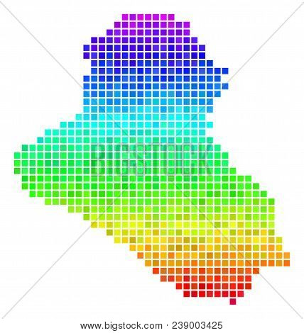 Dotted Iraq Map. Vector Territorial Plan Using Bright Spectrum Color Tints With Vertical Gradient. M